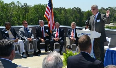 Boeing S.C. Vice President and General Manager Jack Jones speaks before Gov. Nikki Haley signed an incentives bill atop the Boeing S.C. Delivery Center in North Charleston in May. (Photo/Andy Owens)