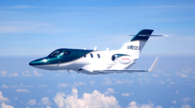 HondaJet takes flight over Greensboro, N.C. (HondaJet photo)