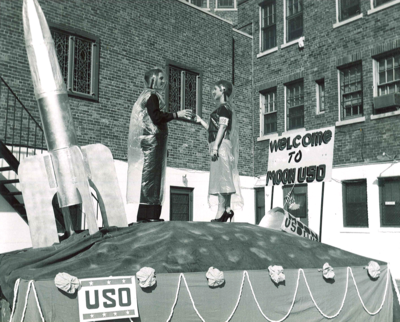 "This image from Charleston Armed Services YMCA isn't a ""real"" UFO, but a promotional tour put on by the USO during the late 1950s. An archivist at the University of Minnesota Libraries found it several years ago and slipped it to futurism website io9.com."