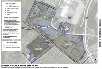Conceptual site plan for land Boeing is asking to be rezoned as a planned development district (Image/Provided)