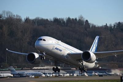 The ecoDemonstrator 787 takes flight last week using green diesel. (Photo/Boeing Co.)