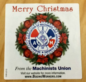 The Machinists union is using this sticker to advertise on The Post & Courier.