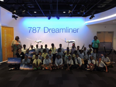 Fourth-graders from several Charleston schools visited Boeing South Carolina to learn about planes and careers in aerospace. (Photo/Provided)