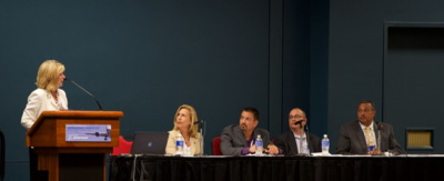 Deborah Cameron, aerospace initiatives director for the S.C. Council on Competitiveness, moderates the supplier panel at the S.C. Aerospace Conference in Columbia. From left: Rebecca Ufkes, president of UEC Electronics; Dan Guzman, general manager of AMT Senior Aerospace South Carolina; Peter Nicholas, president of TIGHitco; and Jerry Ellison, president of JBE Inc. (Photo/S.C. Council on Competitiveness)