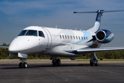 One of ExcelAire's Legacy 600 private jets is based in Oakland, Calif., as part of the company's fleet of super mid-sized jets. (Photo/Hawthorne Global Aviation Services)