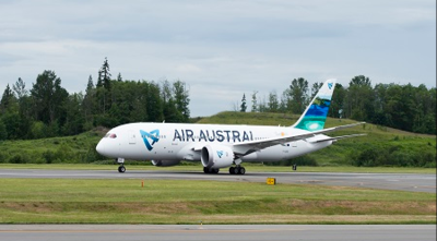 Air Austral's first 787 Dreamliner touches down in France today. (Photo/Boeing)