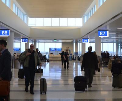 Passengers await flights in Concourse B at Charleston International Airport. (Photo/Liz Segrist)