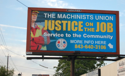 A union billboard in North Charleston. (Photo/Andy Owens)