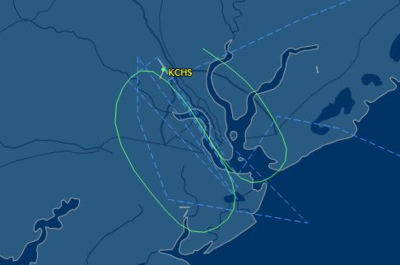 FlightAware shows the 787-9 test flight's route on Monday.