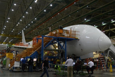 Boeing employees work on the 787 final assembly line in Everett, Wash. (Photo/Liz Segrist)