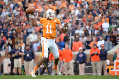 UT quarterback Josh Dobbs deploys aerodynamics in the classroom and on the field. (Photo/University of Tennessee)