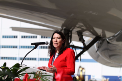 Beverly Wyse, Boeing South Carolina's general manager and vice president, spoke at the rollout of the North Charleston facility's 100th Dreamliner last week. (Photo/Kim McManus)