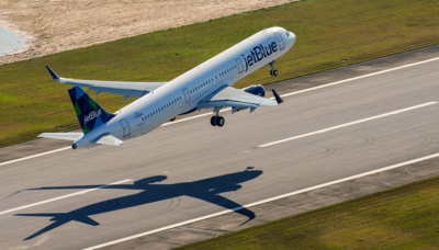 Airbus' first aircraft assembled in the U.S. takes off on its first flight March 21 in Mobile, Ala. (Photo/Airbus)